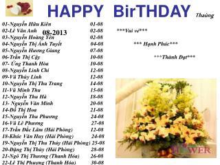 HAPPY  BirTHDAY Thaùng 08-2013