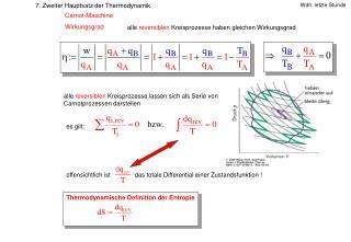 7. Zweiter Hauptsatz der Thermodynamik                  Carnot-Maschine