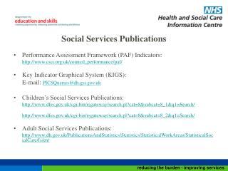 Social Services Publications