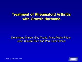 Treatment of Rheumatoid Arthritis with Growth Hormone