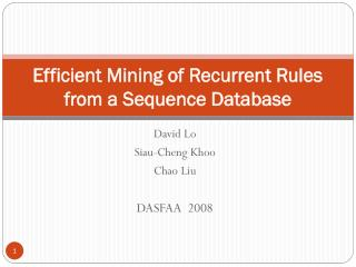 Efficient Mining of Recurrent Rules from a Sequence Database