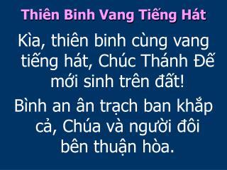 Thiên Binh Vang Tiếng Hát