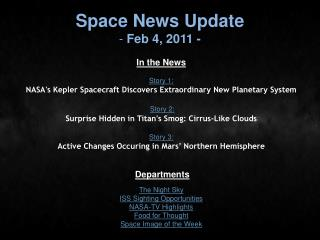 Space News Update  Feb 4, 2011 -