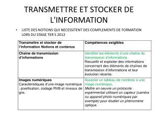 TRANSMETTRE ET STOCKER DE L'INFORMATION