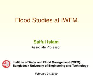 Flood Studies at IWFM