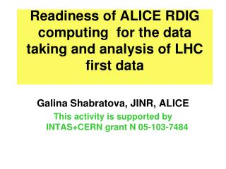Readiness of ALICE RDIG computing  for the data taking and analysis of LHC first data