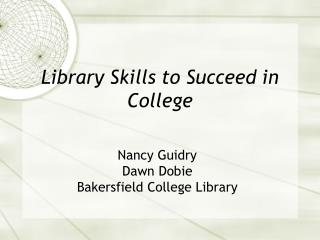 Library Skills to Succeed in College