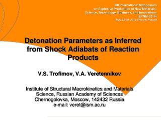 Detonation Parameters as  Inferred from  Shock  Adiabats  of Reaction Products