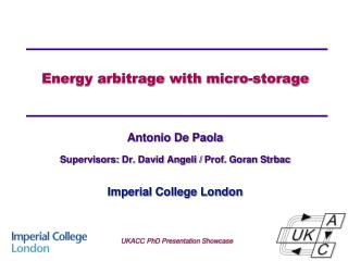 Energy arbitrage with micro-storage