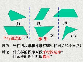 讨论:什么样的图形叫做 平行四边形 ?             什么样的图形叫做 梯形 ?