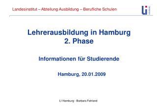Lehrerausbildung in Hamburg  2. Phase  Informationen f�r Studierende
