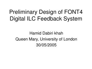 Preliminary Design of FONT4 Digital ILC Feedback System
