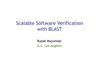 Scalable Software Verification