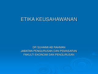 ETIKA KEUSAHAWANAN
