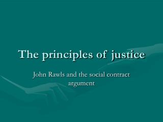 The principles of justice