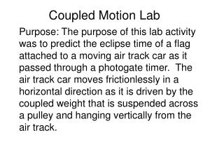 Coupled Motion Lab