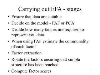 Carrying out EFA - stages
