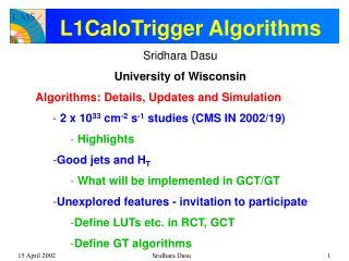 L1CaloTrigger Algorithms
