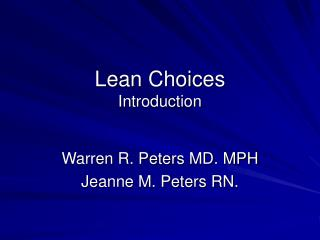 Lean Choices Introduction