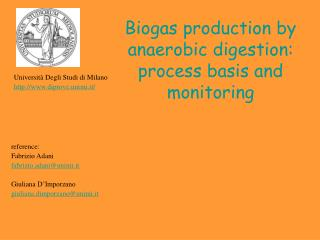 Biogas production by anaerobic digestion:  process basis and monitoring