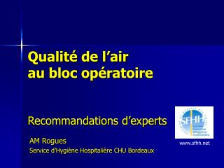 Qualit  de l air  au bloc op ratoire   Recommandations d experts