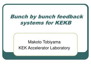 Bunch by bunch feedback systems for KEKB