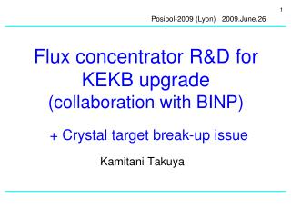 Flux concentrator R&D for KEKB upgrade (collaboration with BINP)