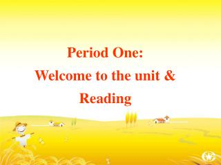 Period One:  Welcome to the unit & Reading