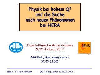 Physik bei hohem Q 2 und die Suche  nach neuen Phänomenen  bei HERA