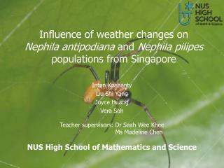 Intan Krishanty Liu Shi Yang Joyce Huang Vera Soh Teacher supervisors: Dr Seah Wee Khee