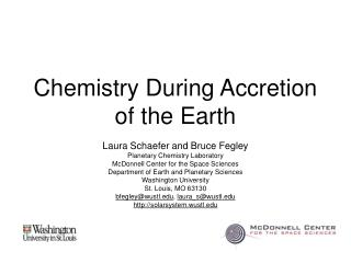Chemistry During Accretion of the Earth