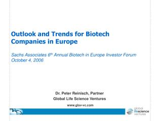 Dr. Peter Reinisch, Partner Global Life Science Ventures