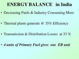 ENERGY BALANCE in India