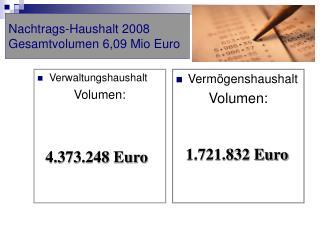 Nachtrags-Haushalt 2008 Gesamtvolumen 6,09 Mio Euro