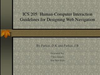 ICS 205: Human-Computer Interaction Guidelines for Designing Web Navigation