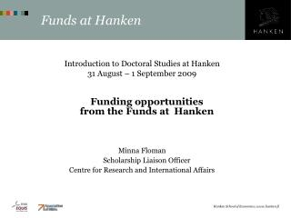Funds at Hanken