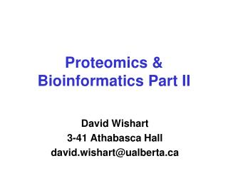 Proteomics & Bioinformatics Part II