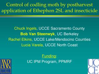 Control of codling moth by postharvest application of Ethephon 2SL and insecticide