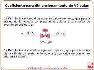 Coeficiente para dimensionamiento de Válvulas