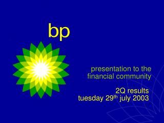 presentation to the financial community