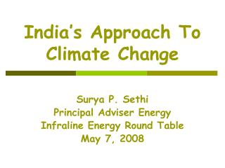 India's Approach To Climate Change
