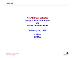 ATLAS Pixel Detector Support Structure Status and Future Developments February 19, 1999