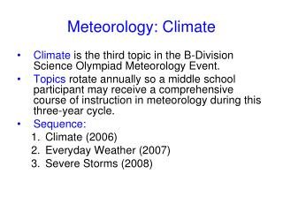 Meteorology: Climate