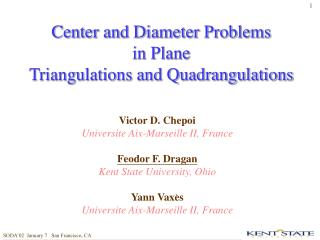Center and Diameter Problems  in Plane  Triangulations and Quadrangulations