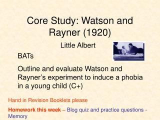 Core Study: Watson and Rayner 1920