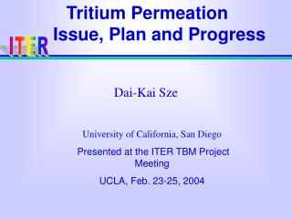 Tritium Permeation      Issue, Plan and Progress