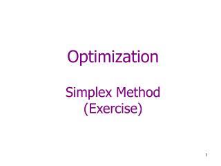 Optimization Simplex Method (Exercise)