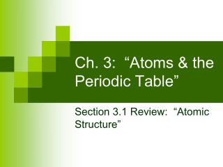 "Ch. 3:  ""Atoms & the Periodic Table"""