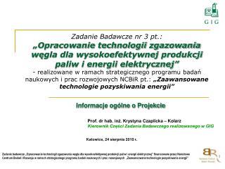 Prof. dr hab. inż. Krystyna Czaplicka – Kolarz