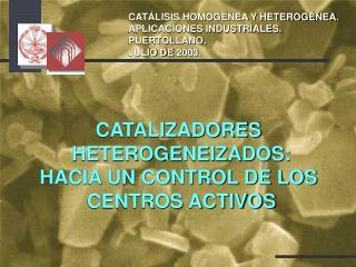 CATALIZADORES  HETEROGENEIZADOS: HACIA UN CONTROL DE LOS  CENTROS ACTIVOS